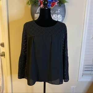 NWT Ann Taylor black lace trimmed blouse